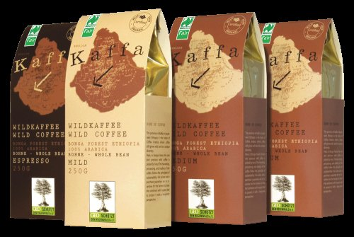 Kaffa Bio Wildkaffee Medium Ganze Bohne, 250 g